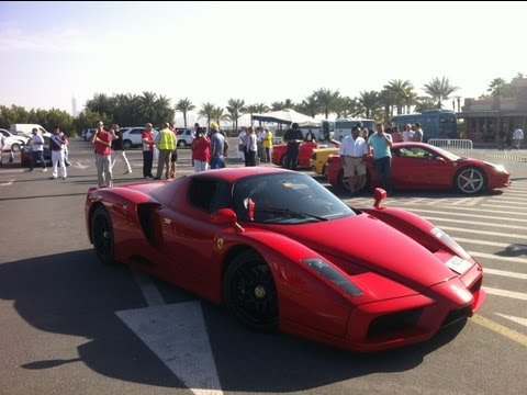 Ferrari Enzo vs 458 italia vs 360 spider F1 short race on the streets of dubai !!!