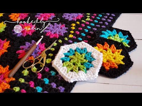 Crochet Rainbow Hexagon Motif Blanket - easy beginners free pattern