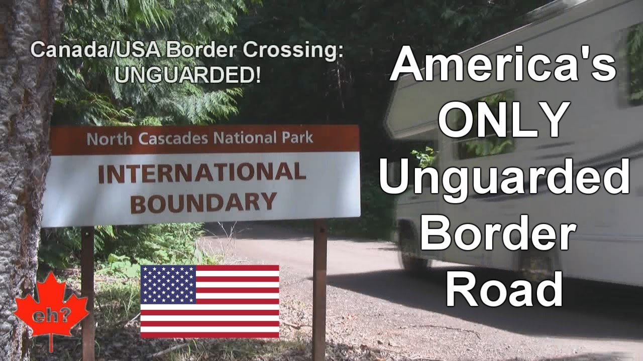 crossing into usa on americas only unguarded border road youtube