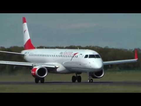✈ Austrian Airlines Embraer ERJ-195LR crosswind pilot training @ Maribor airport ( MBX/LJMB ) HD ✈