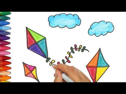dibujar-una-cometa-juego-de-pintar-con-aserrín-aserrán-cancion-|-cómo-dibujar-y-colorear