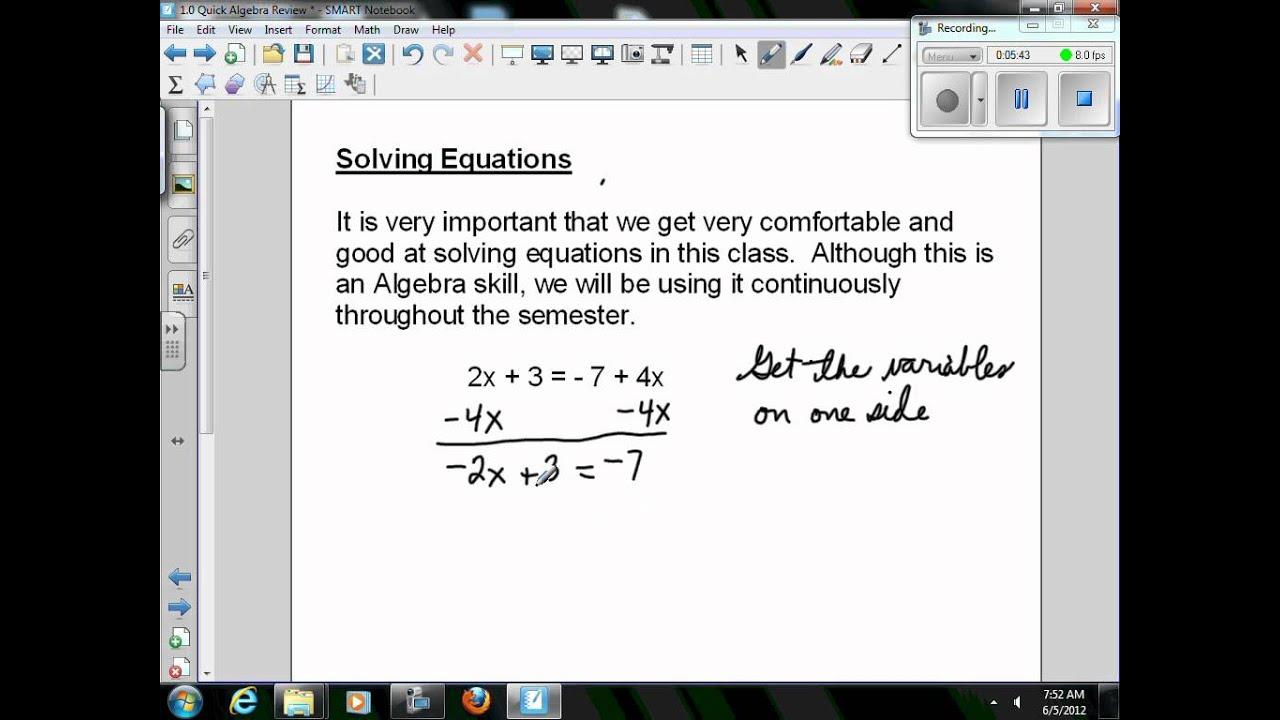 1 Quick Algebra Review - YouTube