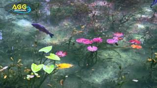 Beautiful lake like Monet paintings at Gifu temple in Japan