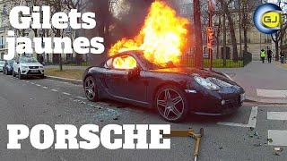 Porsche incendiée à Paris en marge protestations gilets jaunes. 9 février 2019, acte 13.