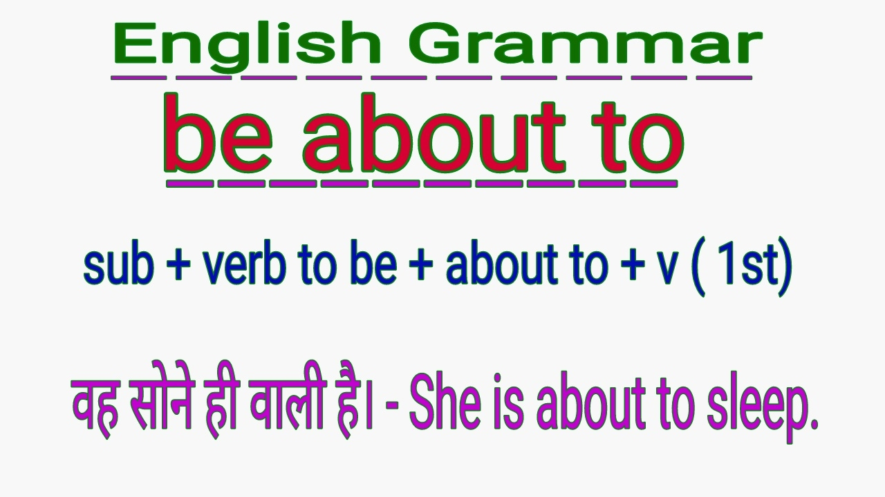 how to use be about to in english grammar in hindi uses of