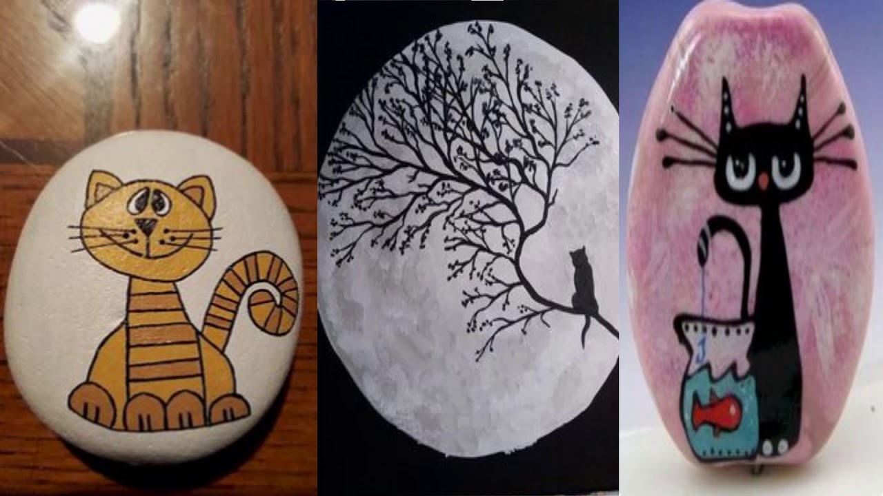 Easy Rock Painting Ideas Cat Painted Rocks Youtube