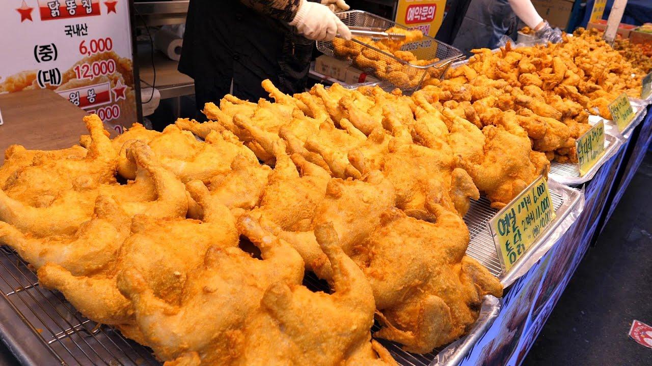 치킨 종류만 10가지 넘는? 역대급 시장 통닭의 성지! 옛날통닭, 닭강정, 똥집튀김 / korean original fried chicken / korean street food