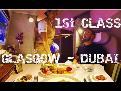 Amazing Emirates First Class Suite B777 GLASGOW - DUBAI