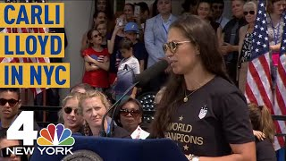 World Cup Parade 2019: USWNT Favorite Carli Lloyd Speaks at City Hall Ceremony | NBC New York