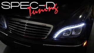 SPECDTUNING INSTALLATION VIDEO: 1998 - 2006 MERCEDES BENZ S-CLASS W220  LED PROJECTOR HEADLIGHTS