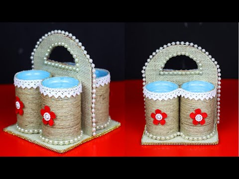 DIY Jute Craft Idea - DIY Home Organizer - Jute Thread Crafts - Best out of waste ideas
