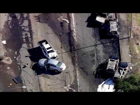 Sky Fox flies over dump truck crash in Santa Rosa