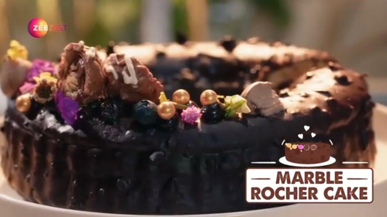 How To Make Marble Rocher Cake - Best Ever Vanilla Chocolate Marble Cake - Baking Recipe - Zee Zest