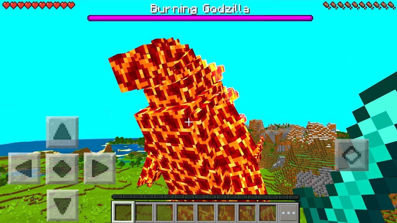 Minecraft PE : GODZILLA MOD in Minecraft Pocket Edition YouTube