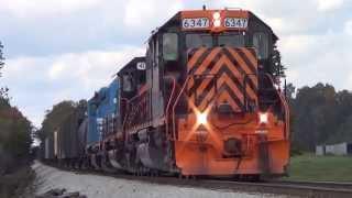 W&le Stone Train At Medina Ohio Trio Of Sd40-2 Locomotives