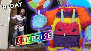 Painyatta Surprises Mike on his 6th Birthday (Real Life Piñata Monster) Skylanders Trap Team Party