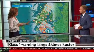 Höstens första storm på väg mot Sverige - SMHI varnar för besvärligt väder - Nyheterna (TV4)