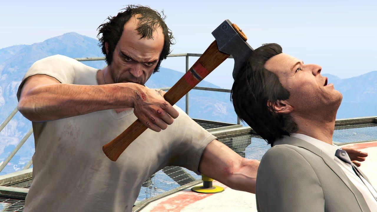 GTA V PC Trevor Kills Michael And Michael (Editor Rockstar Movie Cinematic Short Film)