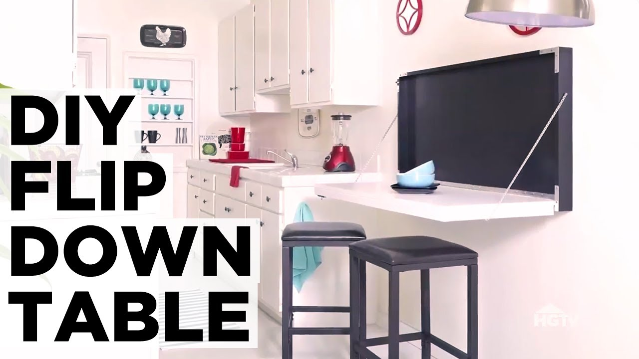 how to make a flip down table hgtv youtube rh youtube com flip down desk hardware flip down desk top