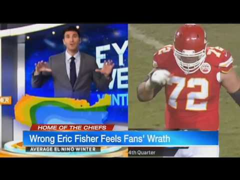 Kansas City Chiefs Fans Tweet at Wrong Eric Fisher - WBZ Meteorologist Interviewed on KCTV