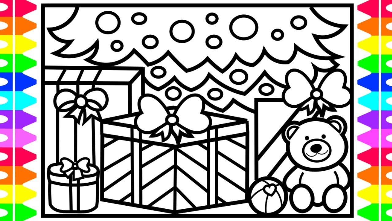 christmas coloring how to draw presents gifts toys under the tree toys for kids coloring pages