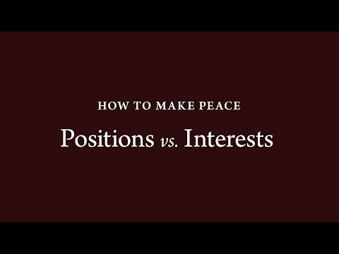 How to Make Peace (4): Positions vs. Interests