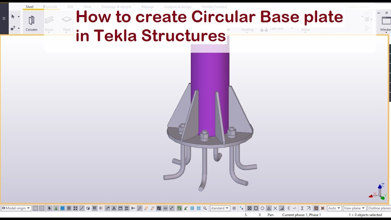 How to create Circular Base plate in Tekla Structures