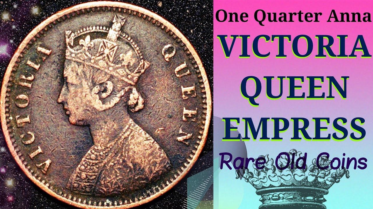 Rare coin Old One Quarter Anna India    Victoria Queen Empress