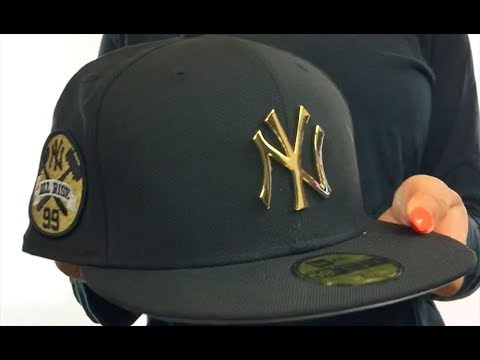 bb64f3c6f72 Yankees  JUDGE ALL RISE GOLD METAL-BADGE  Black Fitted Hat by New ...