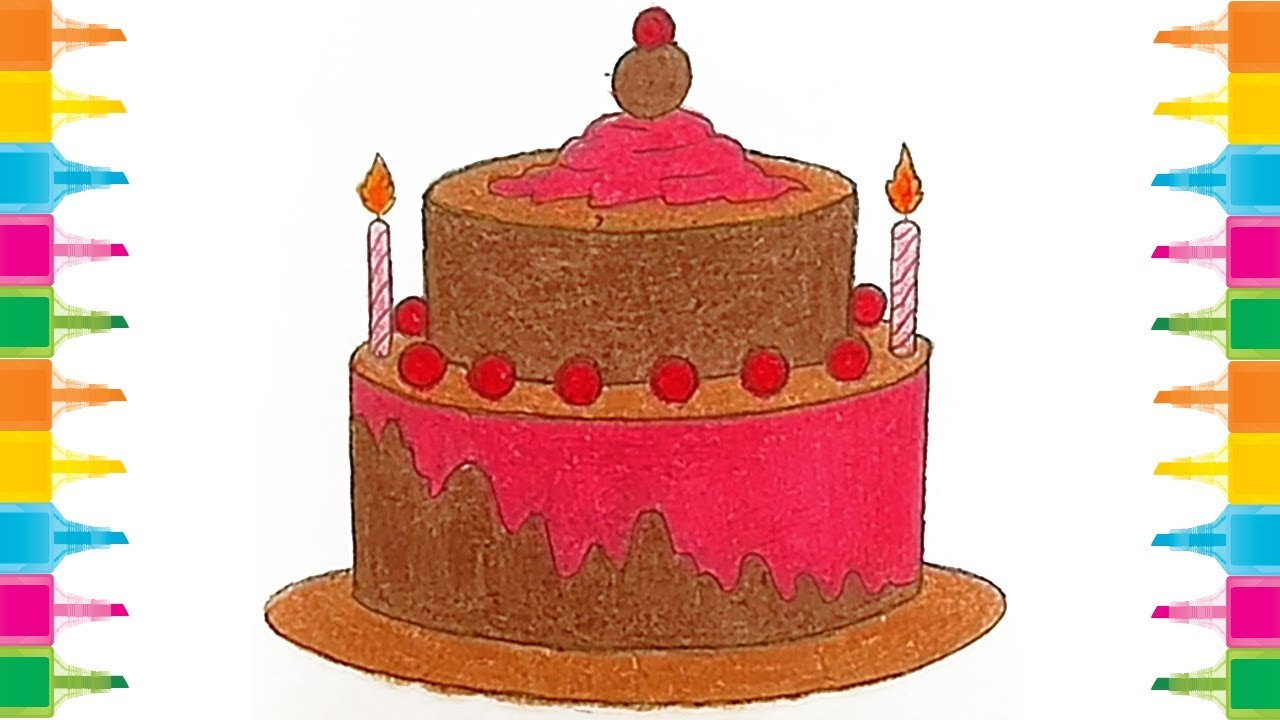 How to Draw Birthday Cake for Kids step by step very easy ...