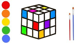 Glitter Rubik's Cube coloring and drawing for kids and toddlers | Learn colors | ArtLand