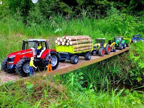 Bruder игрушки Massey Ferguson 7624 RC Трактор Прицеп для лесничества
