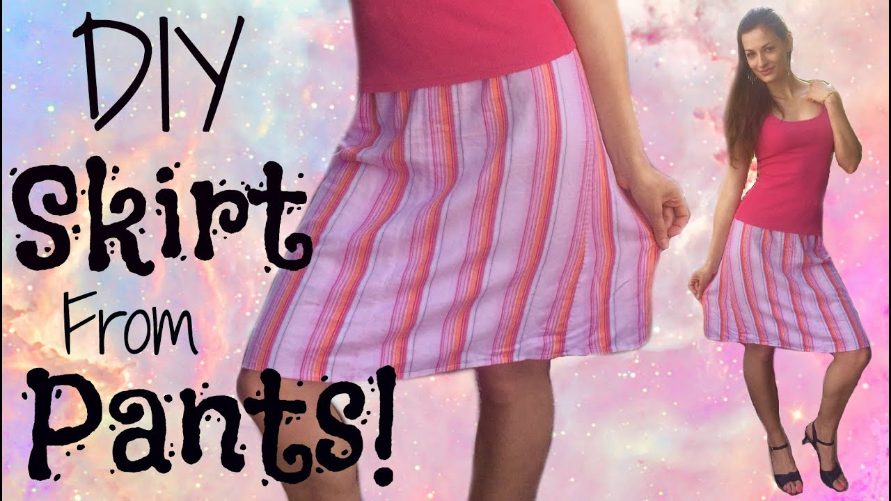 How to make a Cute Skirt out of Any Pants! - DIY clothing ...