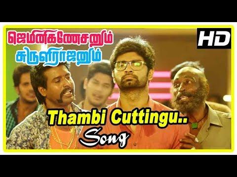 Gemini Ganeshanum Suruli Raajanum Scenes | Thambi Cuttingu Song | Atharvaa Comes To Meet Pranitha