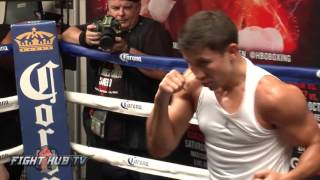 Gennady Golovkin vs. David Lemieux full video- Golovkin shadow boxing workout video