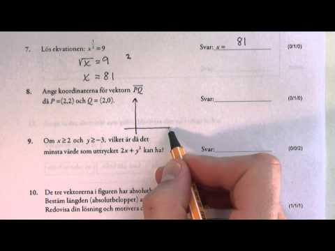 Matematik 1c - Lösning av det nationella provet vt-2012 del I