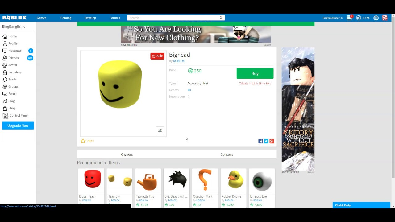 Roblox Head Hat Buying The Big Head Roblox Hat Youtube