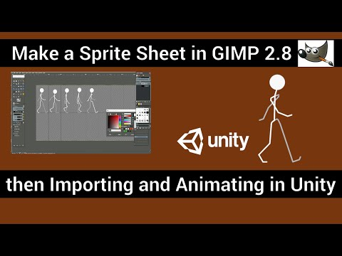 Animating a sprite sheet in Gimp and Import into Unity, with advanced Tips and Techniques. thumbnail
