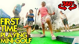 KIDS FIRST TIME PLAYING MINI-GOLF - 360 Video