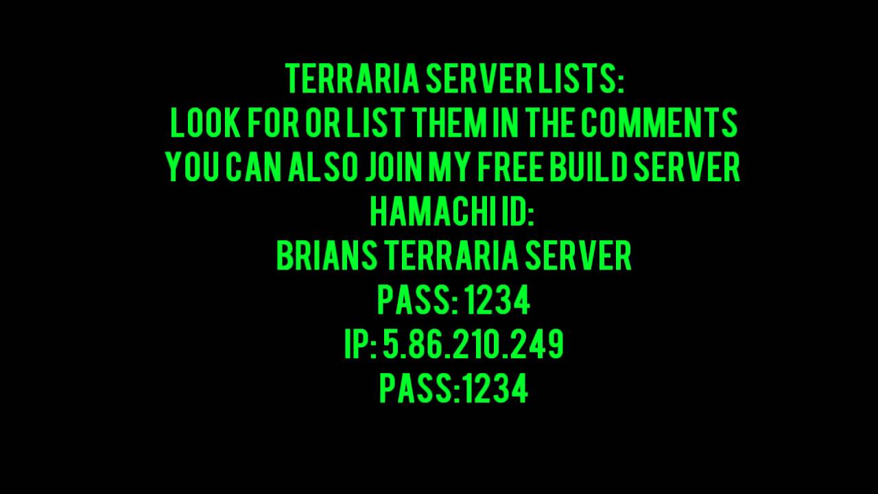 Terraria Server Lists My Free Build Server Youtube