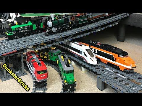 LEGO Train Track Setup #9! Bonus Steam, Passenger and Cargo Train Footage!