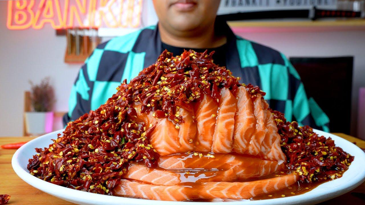 แซลมอนแช่น้ำปลาร้าเดือด พริก 2,000 เม็ด : BANKII