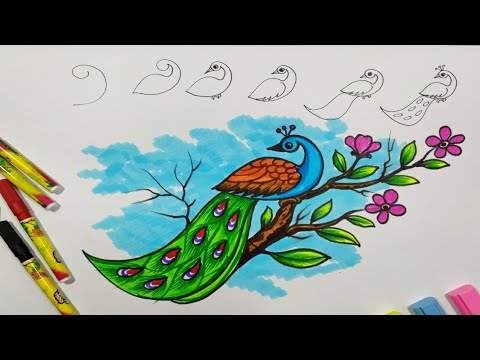 How To Draw A Peacock With Colouring Sketch Pen. // Peacock Drawing With  Number 9.// Tarun Art. - YouTube