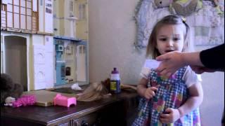 Hannah Talks to John and Mom While Playing Barbies thumbnail