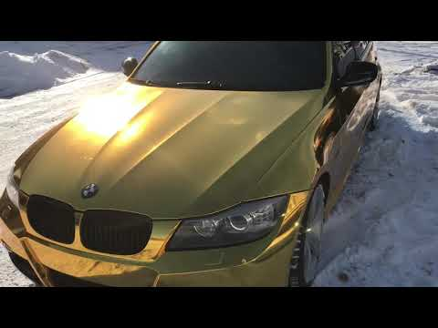 BMW E90 335i Wrapped In Gold Chrome By WrapMeisters