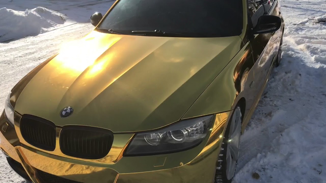 Bmw E90 335i Wrapped In Gold Chrome By Wrapmeisters Youtube