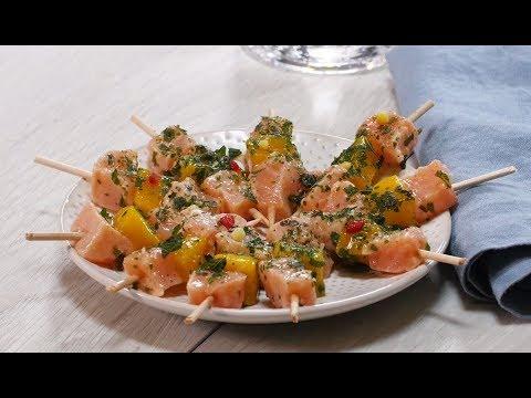 recette-facile-:-les-brochettes-saumon---mangue
