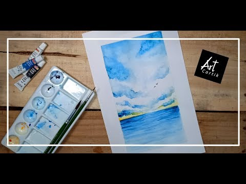 Water colour Ocean Landscape Painting | Drawing Tutorial