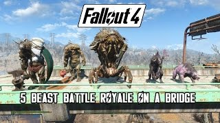 Fallout 4 - Battle On A Bridge Swan, Behemoth, Mirelurk Queen, Deathclaw Yao Guai