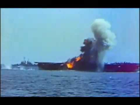 Footage of a Kamikaze attack on the USS Essex, 25 november 1944